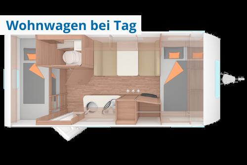 Grundriss Wohnwagen zur Miete Weinsberg bei Tag