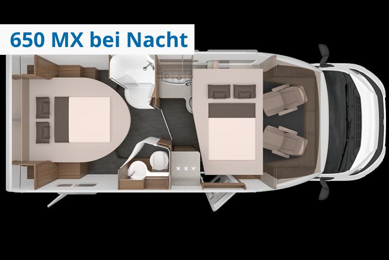 Wohnmobil Knaus Live Wave MX bei Nacht